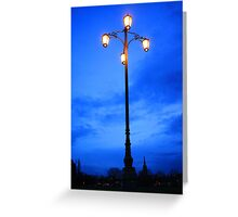Reality Checkpoint lampost at dusk Greeting Card