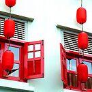 Red windows of Chinatown by Tamara Travers