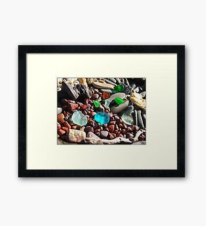 Seaglass Art Prints Coastal Beach Rocks Framed Print
