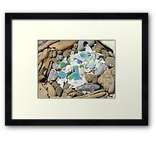 Beach Seaglass Shells Art Prints Driftwood Agates Fossils Framed Print
