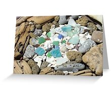 Beach Seaglass Shells Art Prints Driftwood Agates Fossils Greeting Card