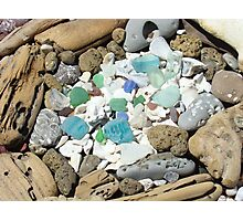 Beach Seaglass Shells Art Prints Driftwood Agates Fossils Photographic Print