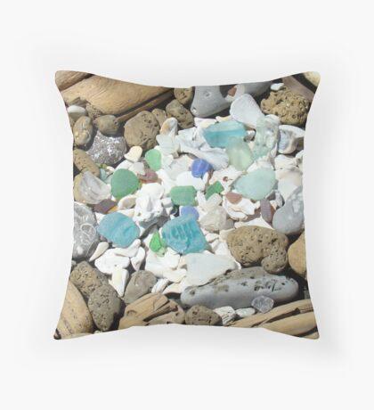 Beach Seaglass Shells Art Prints Driftwood Agates Fossils Throw Pillow