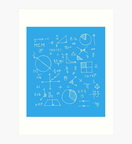 Math formulae (blue) Art Print