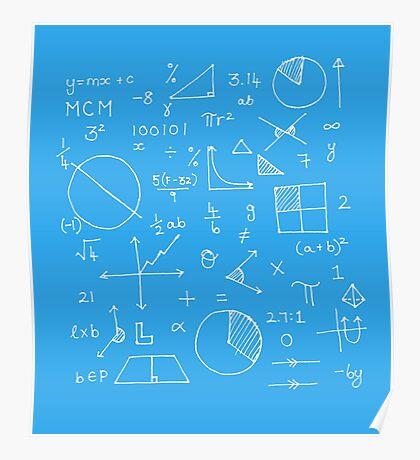 Math formulae (blue) Poster