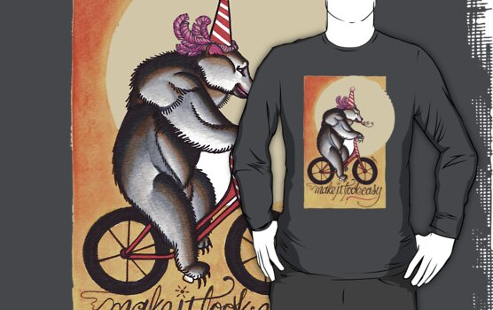 bear on a bicycle, natural talent shirt by resonanteye