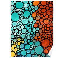 Abstract 3 - Colorful Mosaic Art Aqua Orange Yellow Poster
