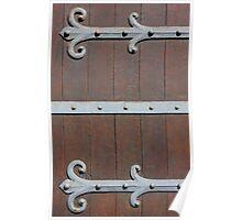 Antique Door with metal Hinges Poster