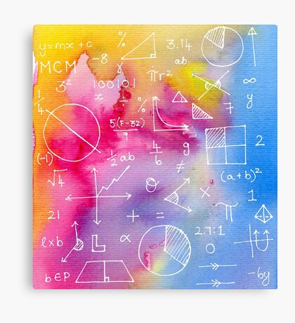 Math formulae (watercolor background) Canvas Print