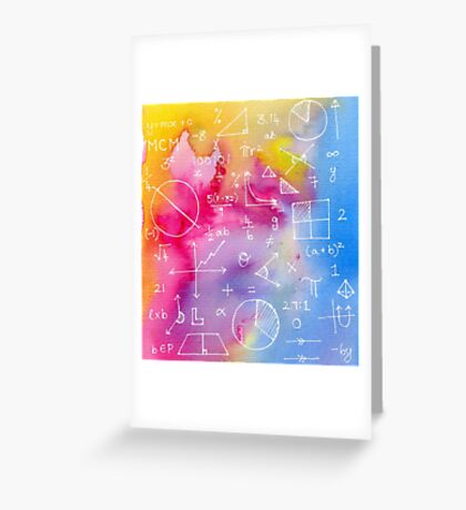 Math formulae (watercolor background) Greeting Card