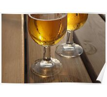 Beer Glasses on Wooden Table Poster