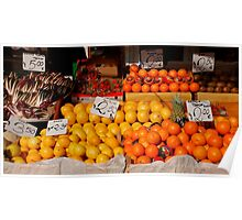 Citrus Fruits on Market Stall Poster