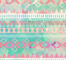 Girly Pink Turquoise Aztec Tied Dye Pastel Pattern by GirlyTrend