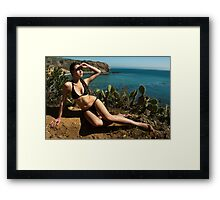 Sexy bikini on bird view location of CA coastline Framed Print