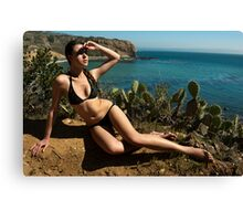 Sexy bikini on bird view location of CA coastline Canvas Print