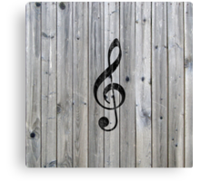Vintage black music note Treble Clef gray wood Canvas Print