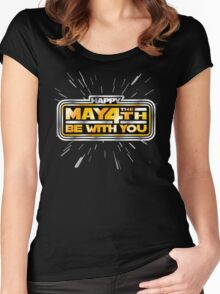 Happy May the 4th! (Yellow/Stars) Women's Fitted Scoop T-Shirt