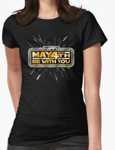 Happy May the 4th! (Yellow/Stars) Womens Fitted T-Shirt