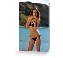 Bikini model posing in front of ocean in Palos Verdes, CA Greeting Card