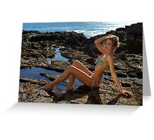Bikini model posing on lava field in Palos Verdes, CA Greeting Card