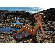 Bikini model posing on lava field in Palos Verdes, CA Photographic Print