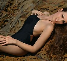 Beauty shot of swimsuit model on location by Anton Oparin