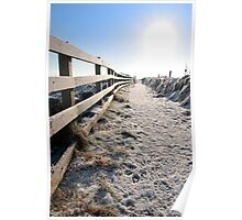 frozen snow covered path on cliff fenced walk Poster