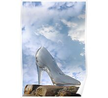 glass high heel slipper on rocky surface Poster