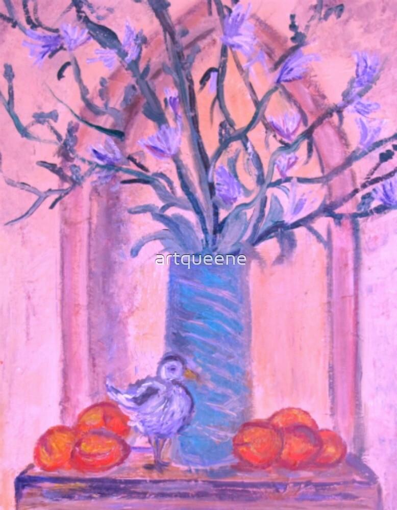 Blue Vase, White bird and Nectarines by artqueene