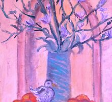 Blue Vase, White bird and Nectarines by artqueene