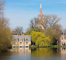 Minnewater in Bruges Belguim by kirilart