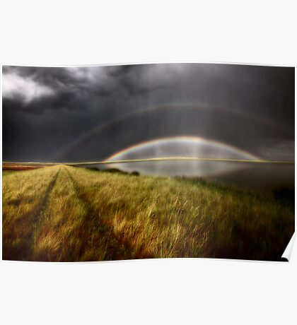Storm clouds and rainbow over Chaplin Lake Marshes Poster