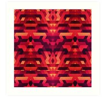 Abstract red geometric triangle texture pattern design (Digital Futrure - Hipster / Fashion) Art Print