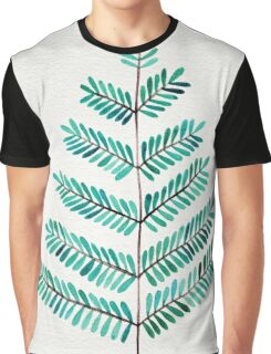 Turquoise Leaflets Graphic T-Shirt
