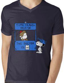 Peanuts Time Travel Mens V-Neck T-Shirt