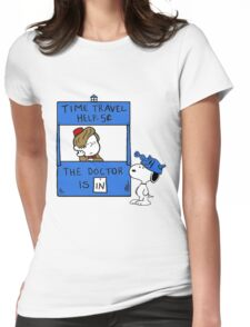 Peanuts Time Travel Womens Fitted T-Shirt