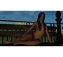 Kiera on Bench Photographic Print