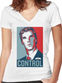CONTROL PastelBlue/Red/DarkBlue Women's Fitted V-Neck T-Shirt