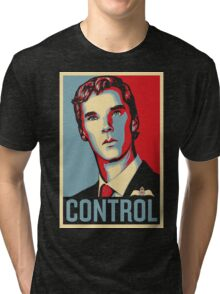CONTROL Beige/PastelBlue/Red Tri-blend T-Shirt