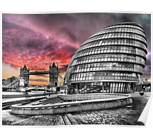 London Skyline - City Hall and Tower Bridge BW - HDR Poster
