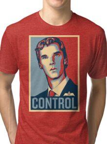 CONTROL Beige/PastelBlue/DarkBlue Tri-blend T-Shirt