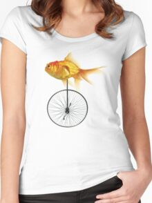 unicycle goldfish Women's Fitted Scoop T-Shirt