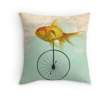 unicycle goldfish Throw Pillow