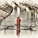 Canal Fishing by Husky