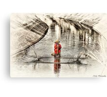 Canal Fishing Canvas Print