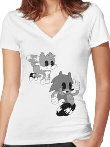 Retro cartoon Sonic Women's Fitted V-Neck T-Shirt