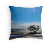 Solitary Tree at Low Tide Throw Pillow
