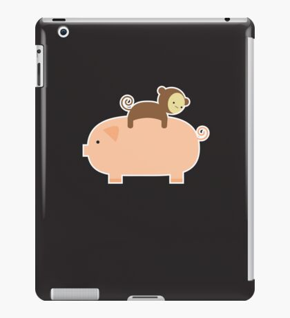 Baby Monkey Riding Backwards on a Pig - Black Bg iPad Case/Skin