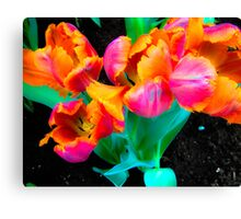 Vibrant Neon Tulips in Bloom Canvas Print