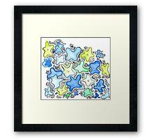 Blue Green Flowers Framed Print